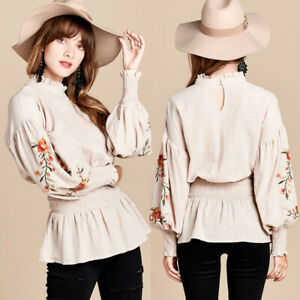 NEW Neutral Mocha Floral Embroidered Balloon Bishop Sleeves Peplum Blouse Top