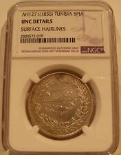 Tunisia 1855 (AH1271) Silver 5 Piastres NGC UNC Details