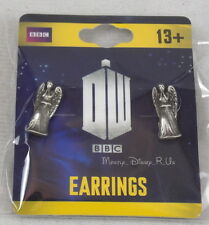 Doctor Dr Who Weeping Angel Angelic Grey Metal Post Stud Earrings NEW BBC TV