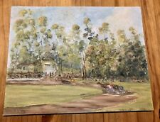 Vintage Original Oil Painting On Canvas Board  Trees RoadHouses Horses Landscape