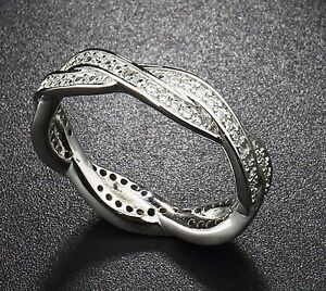 GENUINE CZ ENCRUSTED SILVER TWIST OF FATE BRAIDED PAVE STACKING RING SIZE 54