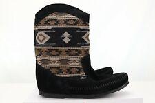 Women's Minnetonka Baja Tapestry Black Leather Boots Moccasins Shoes Boho Size 5