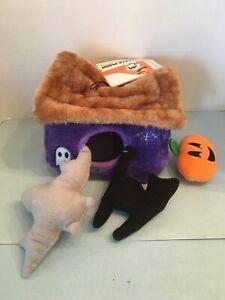 Halloween Hide A Toy Haunted House Plush Puzzle Dog Toy Bat Cat Pumpkin