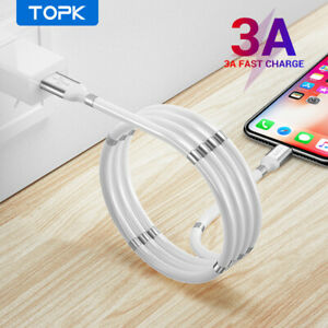 Magnetic 1m Absorption Data Cable Self Winding USB Cable for iPhone / Android