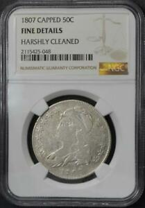 1807 Capped Bust Half Dollar NGC Fine Detail Harshly Cleaned No Reserve Auction