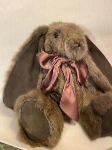 "15"" OOAK ""Bearables"" Diane Wnek Bellamo Hand Made real Fur lop ear bunny rabbit"