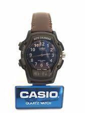 Casio AW-24 Module 2318 Quartz Auto Calendar Dual Time Vintage Watch Rare Black