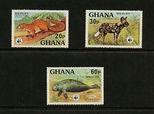 Ghana 1977 #622-4 Wwf fauna dog manatee Short-Set 3v. Mnh K537