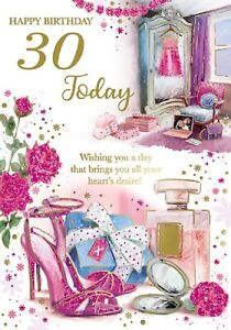 Ladies Happy 30th Birthday Card. Cute Card Design