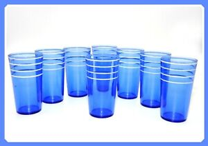 Lot/Set of 8 Vintage Art Deco Cobalt Blue 4 White Striped Lines Tumblers