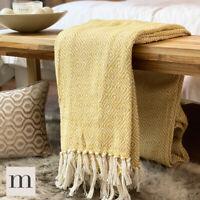 Eco Friendly Cotton Diamond Geometric Sofa / Bed Throw Blanket Mustard Yellow