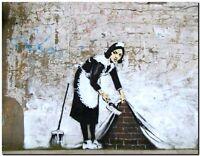 "BANKSY STREET ART CANVAS PRINT Maid sweeping bricks 24""X 16"" stencil poster"