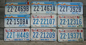 American license plate Lot Joblot of 9 original Montana