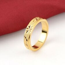 Men Carved Ring 18K Yellow Gold Filled GF 5MM Wedding Band Jewelry Size 11