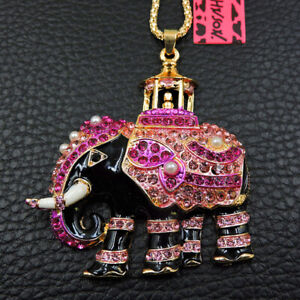 Betsey Johnson Crystal Elephant Pendant Sweater Chain Necklace