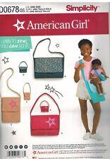D0678 UNCUT Simplicity Sewing Pattern American Girl Brand Girls & Doll Bag Purse