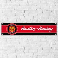 Austin Healey Banner Garage Workshop PVC Sign Trackside Car Display BLACK & RED