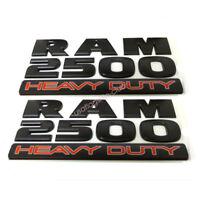 2x OEM Matte Black Dodge RAM 2500 HEAVY DUTY Emblem Badges 3D Decal Mopar Fu New