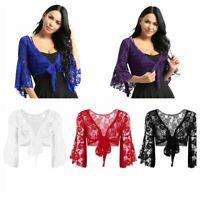 Women Lace Jacket Shrugs Bolero Crop Top Shirts Belly Dance Cover Blouse Outwear