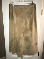 DKNY 100% Leather suede Beige Midi Skirt Size 8 $248.00