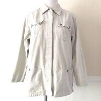 REI Khaki Shirt Jacket Womens Size SMALL Beige Outdoor Cotton Hiking Camp