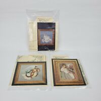 Vtg Lavender & Lace Cross Stitch Chart Lot of 3 Angel of Mercy / Autumn Morning