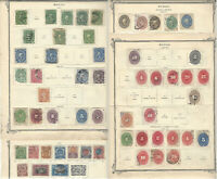 1884-1899 MEXICO STAMP LOT ON ALBUM PAGE INCLUDES OFFICIAL STAMP