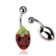 Strawberry Navel Belly Button Ring Surgical Steel