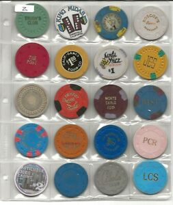 Collection Of 20 Different California Casino & Card Room Chips-New Scans-Lot 2