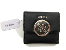 GUESS Kamryn Card And Coin Black Small Purse Trifold Wallet-Genuine