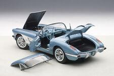 1:18 Autoart CHEVROLET CORVETTE (bleu argenté) 1958 +gratuit Vitrine