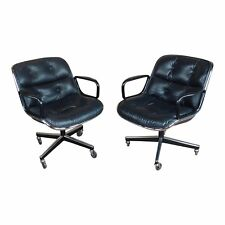 Charles Pollock 1960s Executive Chairs in Black Leather for Knoll a Pair