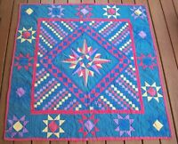 Antique Mariners Compass Colorful Handmade Quilt Top Lap Throw 53 x 57 Vtg
