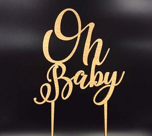 Oh Baby Newborn Birthday Party Oak Veneer 3mm MDF Wooden Cake Topper