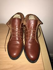 Hush Puppies Chestnut Brown Leather Ankle Boots Lace Up Size 5