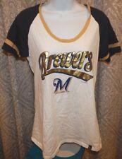 MILWAUKEE BREWERS White Cotton SS Tee / T-Shirt Junior's XL / Women's Medium