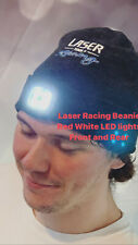 Racing Beanie Hat 4 LED Bulbs Front Rear Rechargeable Light RED AND WHITE LIGHT