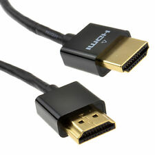 1m Slim HDMI High Speed 3D TV Low Profile Cable with Ethernet Black [007587]