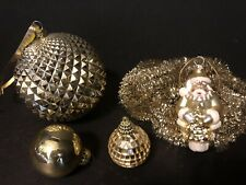 Vintage Lot: 1940s-50s Christmas Gold Tinsel Garland & 4 Gold Ornaments