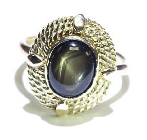 10k yellow gold black star sapphire ring 4.2g ladies vintage 5.5 antique