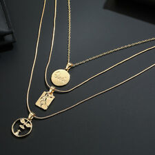 Women Round Human Face Pendant Choker Necklace Multi-layer Party Jewelry Utility