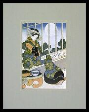 Keisai Yeisen Japanese Lady Reading by Moonlight Poster Kunstdruck und Rahmen