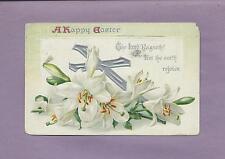 Lovely LILIES, CROSS On Beautiful Raphael TUCK Vintage 1911 EASTER Postcard