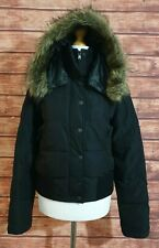 Ladies Winter Coat/Jacket WAREHOUSE Size UK-10 Bomber/Quilted Hood FAUX FUR Zips