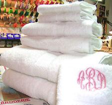 MONOGRAMMED12 PIECES WHITE TOWELS SET-100% COTTON-GRANDEUR HOSPITALITY.