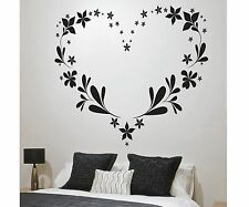 FLORAL HEART LOVE  Bedroom Wall Art Decal Quote Words Lettering Home Decor