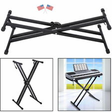 Pro Adjustable X Style Dual Keyboard Stand Electronic Piano Double US SHIP