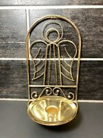 """Vintage 9"""" Gold Brass Angel Cherub Wall Table Candle Holder Sconce"""