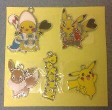 """"""" """"Lot de 5 X Pokemon Pikachu ton argent métal émail CHARMS pendentifs (N2)"""""""""""