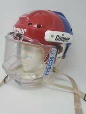 Cooper SK2000 S Red & Blue HABS Vintage Hockey Helmet w/ ITECH II Visor Shield